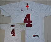 Alabama Crimson Tide #4 Marquis Maze White NCAA Jerseys