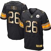 Nike Pittsburgh Steelers #26 Le'Veon Bell Black Gold Elite Jersey Dingwo
